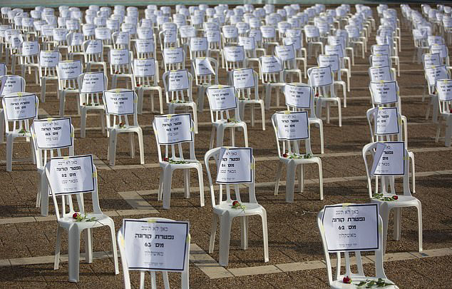 1019 sedie in Kikar Rabin per ricordare i deceduti da covid19