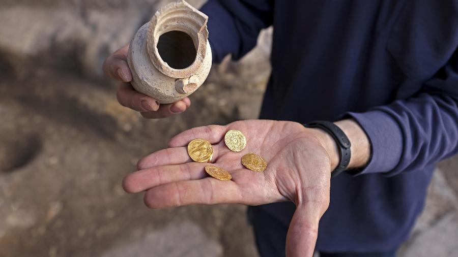 Monete d'oro scoperte negli scavi al Muro Occidentale